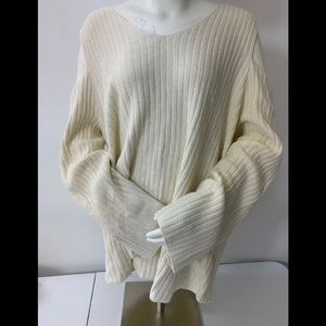 Style & Co Rom Charm ivory Ribbed Cold Shouldr